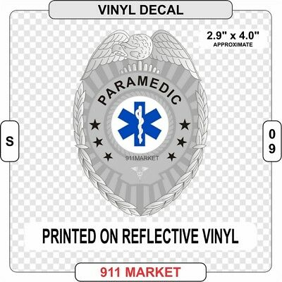 Paramedic Badge Reflective Vinyl Decal Sticker Emergency Medical Truck Car  S 09