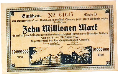 1923 Germany CHEMNITZ  10.000.000 / 10 Million Mark Banknote