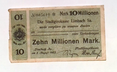 1923 Germany LIMBACH  10.000.000 / 10 Million Mark Banknote