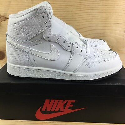 6ce238a864bd Nike Air Jordan 1 Retro High OG GS Perforated Size 6.5 Y Youth White Shoes