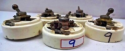 Electric Switches Vintage British Make Crabtree Vitreous Brass Porcelain 5 Piece