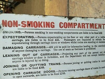 Victorian railways enamel sign For a Non Smoking Compartment