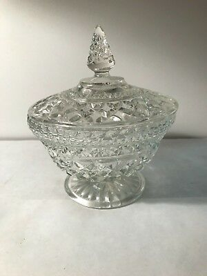 Antique clear cut glass crystal covered compote dish