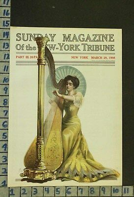 1908 Music Instrument Harp Song Fashion Peacock Romance Illus Frew Cover Ro27