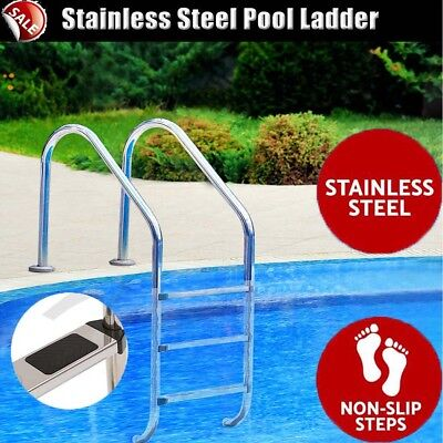 Heavy-duty 3 Wide Swimming Pool Ladder In-Ground Stainless Steel Non-Slip Steps