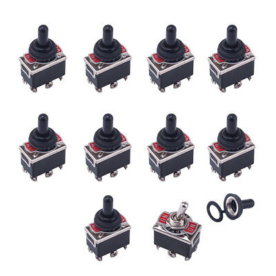 10Pcs 15A 250VAC 20A 125VAC DPDT 3 Position 6Pin On/Off Toggle Switch w/ Caps