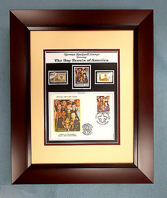 Boy & Cub Scouts-Official Rockwell & Scout US Stamp Plaque MINT Great Eagle Gift
