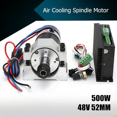 48V 500W Air Cooling Spindle Brushless Motor +52mm Clamp +Speed Governor ER16
