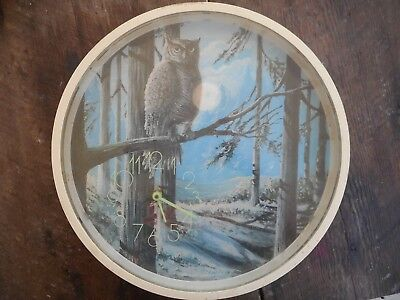 Vintage 1978 Retro Spartus Wall Clock Kitchen Decor Owl Perched Snowy Limb 14""