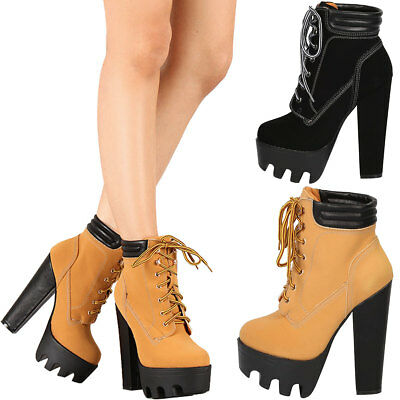fa20c844af5 New Women Round Toe Lace Up Ankle Bootie Boot Lug Sole Platform Chunky High  Heel