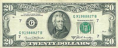 1969 series B G/B (CHICAGO) $20 Dollar Federal Reserve Note Bill US Currency