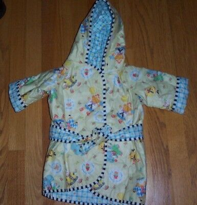 MARY ENGELBREIT Yellow Print Quilted Hooded Robe Girls Size 18 Months NWOT