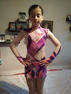 """Ice Figure Skating dress 9-10  DECORATED with stones """"Cirque du Soleil"""""""