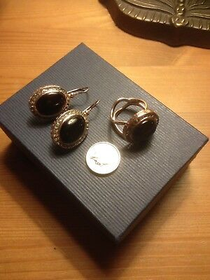 Vintage MARCELLO FONTANA Rose Gold On Sterling Silver Earrings & Ring.