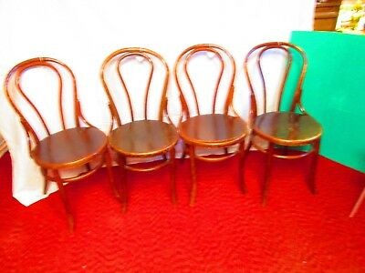 Four Vintage Light Oak Bentwood Ice Cream Parlor Chairs