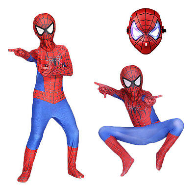 Halloween Cosplay Costume Jumpsuit Spiderman Zentai Suit for Kids Send LED Mask