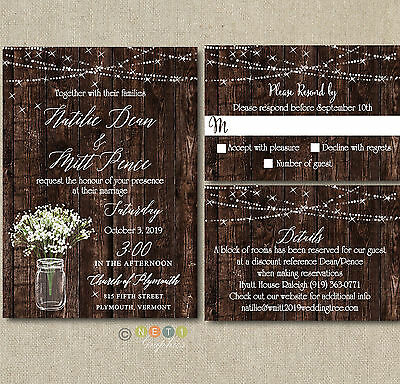 100 Personalized Rustic Wedding Invitations Mason Jar With Envelopes