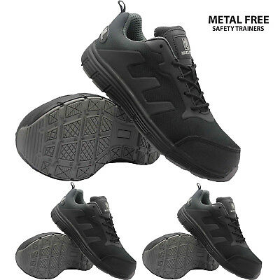 Mens Ultra Lightweight Composite Plastic Toe Cap Safety Trainer Work Lace Shoes