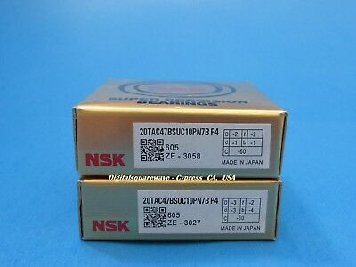 NSK 20TAC47BSUC10PN7BP4 Abec7 Precision Ball Screw Bearings (Matched Set of 2)