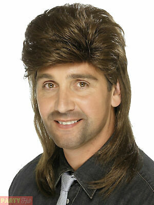 Mens Brown Mullet Wig Adults 80s 1980s Retro Fancy Dress Accessory