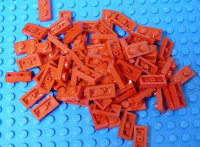 LEGO Plate 1 x 2 3023 Red Assorted x80PC
