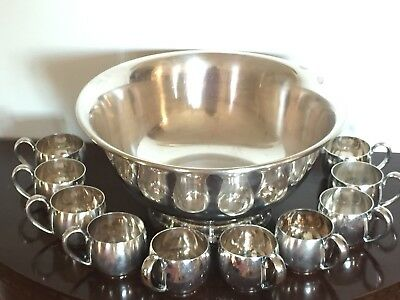 Reed & Barton Silverplate Punch Bowl  & 10 Cups 108 Revere 1950s Wine Cooler