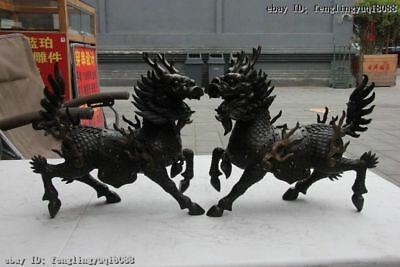 Chinese Pure Bronze Copper Dragon Kylin Unicorn Kirin Chi-Lin Beast Statue Pair
