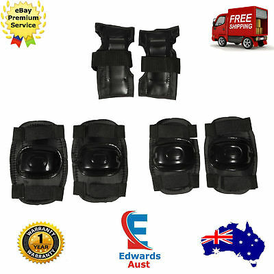 Skate Protection Pads Elbow Knee Wrist Brace Guards Scooter Bike Black 6 Pc New