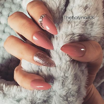 FALSE NAILS - Blush Pink Glitter Diamond - Stick On - The Holy Nail