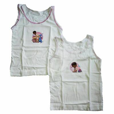 Girls 2 pack Vests Sofia Doc Mcstuffin 18/24m, 2/3, 3/4, 4/5 yrs cotton