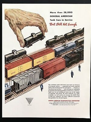 1948 Vintage Print Ad 40's GENERAL AMERICAN Transportation Corp Train Giant Hand