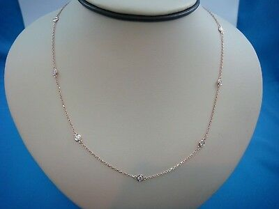 "0.70 Ct ""diamonds By The Yard"" 7 Stations 14K Rose Gold Necklace, 18 Inch Long"