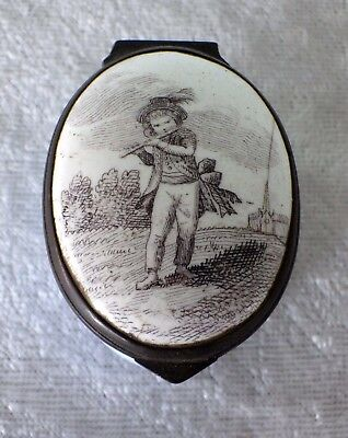 18th century Battersea Bilston enamel trinket snuff box Flute Playing Boy mirror