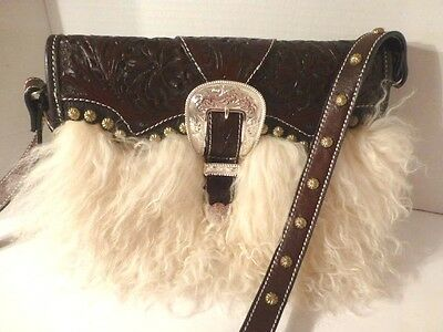 Montana Silversmiths Tooled Leather Woolly Flap Shoulder Bag / Organizer, NWT