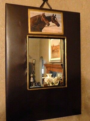Horses Vintage Image On Painted Antiqued Metal Wall Mirror, Made In U.S.A.