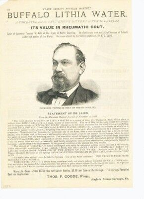 1882 Buffalo Lithia Water Medicine Thomas Holt Governor Gout N. Carolina 12191