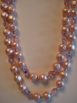 """Vintage Pink Faux Pearl And Crystal Bead Double Strand Necklace 25"""""""