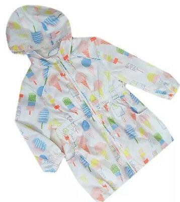New Ex M&S Girls Baby Summer Coat Light Rain Jacket Pack-able Size 3 M - 5 yrs