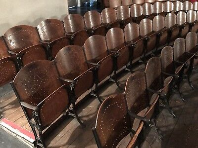 Antique Decorative Iron & Wood Theater Seat!