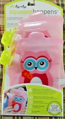 Itzy Ritzy Squeeze Happens 2 Reusable Baby Food Pouches - No Spill - Pink Owl