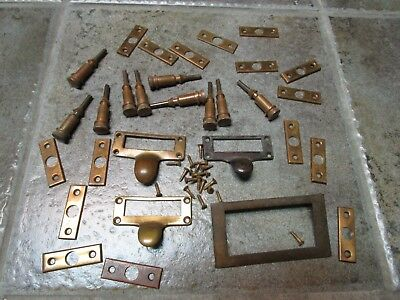 Library Card Catalog Drawer Handle Pull VINTAGE Brass Plus Screws & Rod Section