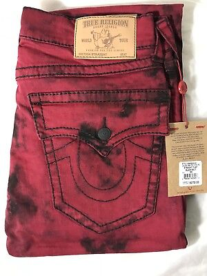 True Religion Mens 33 Big T Straight Stretch Red Jeans MAX3859UA0 Authentic $273