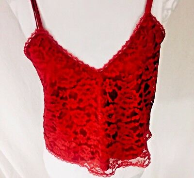 Vintage Victoria's Secret Gold Label 80s 90s Med Red Lace Camisole Top Cropped