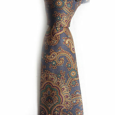 Hathaway men neck silk dress tie NEW no tags brown with paisley pattern