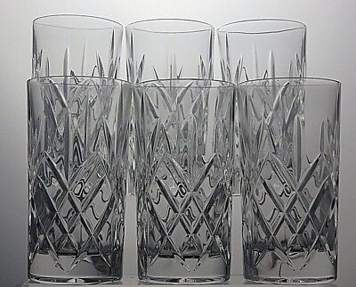 Lovely Cut Glass Heavy Lead Crystal Highball Glass Tumblers Set Of 6