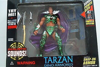 Sound & Disk Tarzan Earths Core Actions Figur Dino Armored 1995 OVP Blister