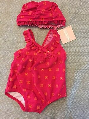 NWT Gymboree baby girl pink flower bathing swim suit hat SET 0 3 6 12 18 24 mon