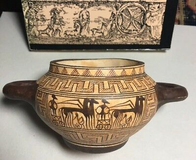 Handmade in Greece; Geometric Drinking Cup SKYPHOS; excellent Vtg..repro; 800 BC