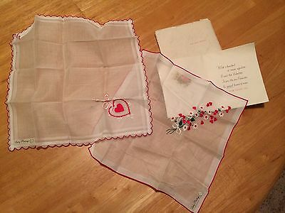 BK2- Hanky Lady Heritage Vintage Embroidered Hearts + Flowers handkerchief  x2