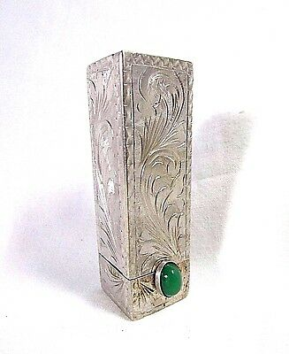 VINTAGE Coin SILVER 800 ETCHED LIPSTICK CASE HOLDER ~ Jade ~ with Mirror